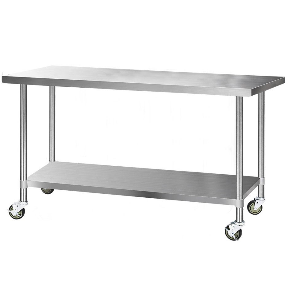Cefito 1829x760mm Commercial Stainless Steel Bench Prep Table w/ wheels