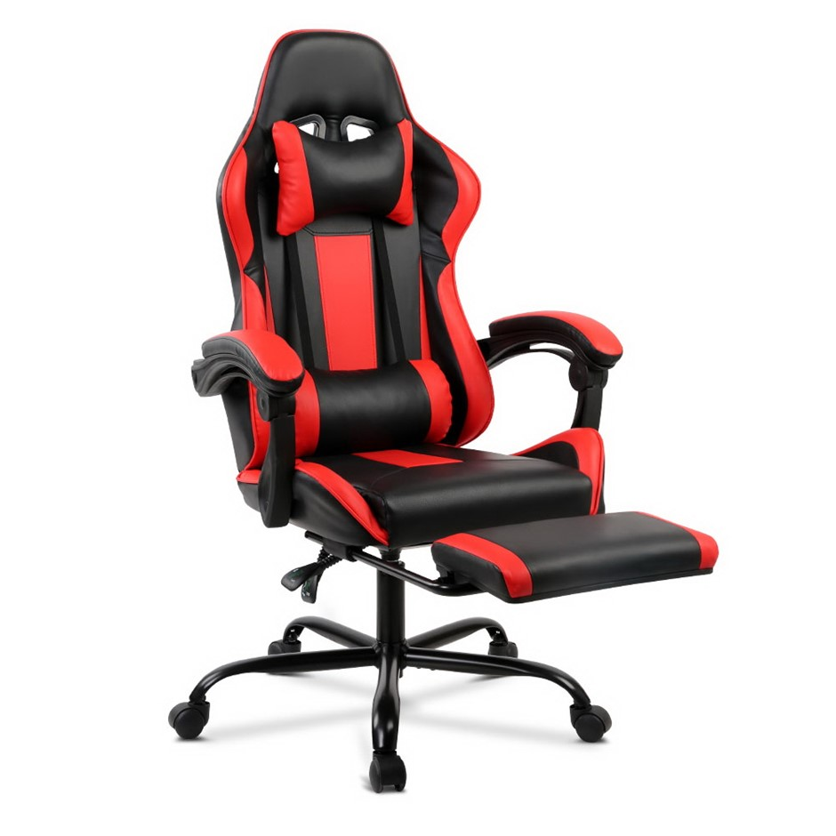 Artiss Gaming Chair Office Computer Seating Racing PU Leather Black Red