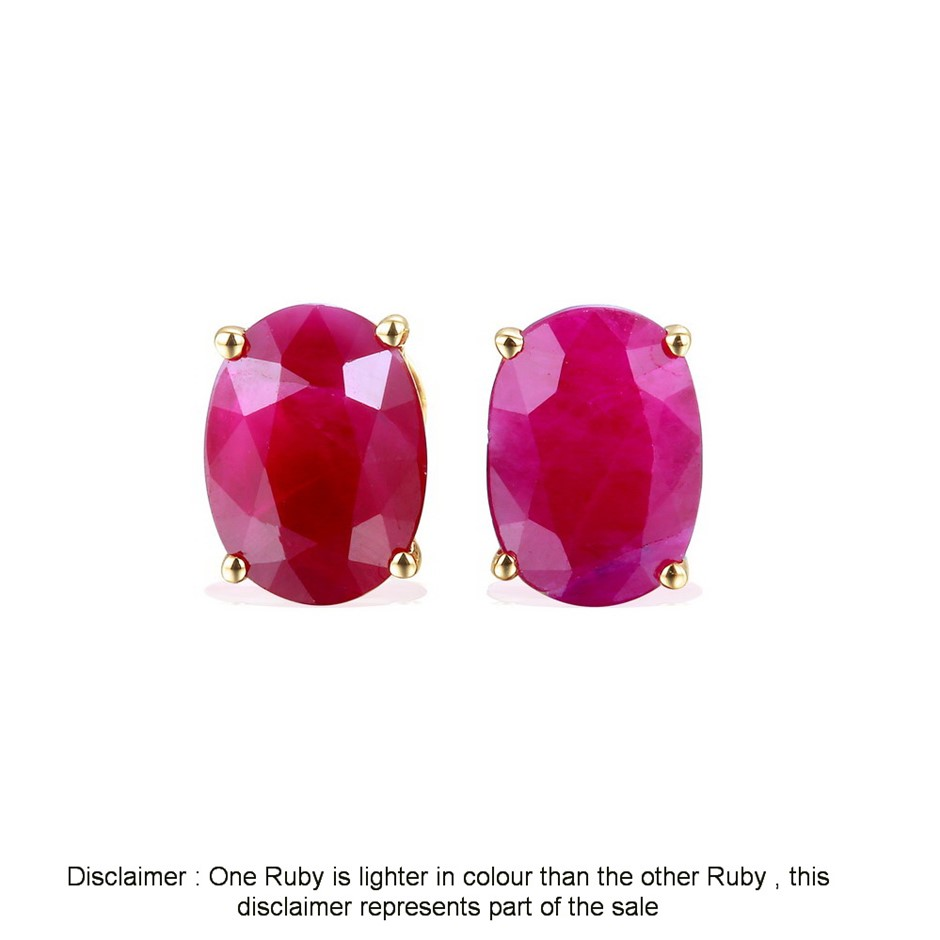 9ct Yellow Gold, 3.45ct Ruby Earring