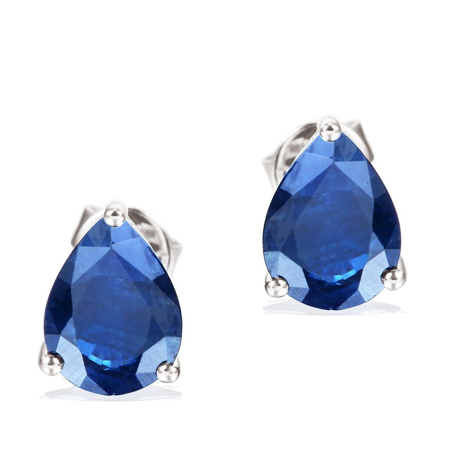 9ct White Gold, 2.75ct Blue Sapphire Earring
