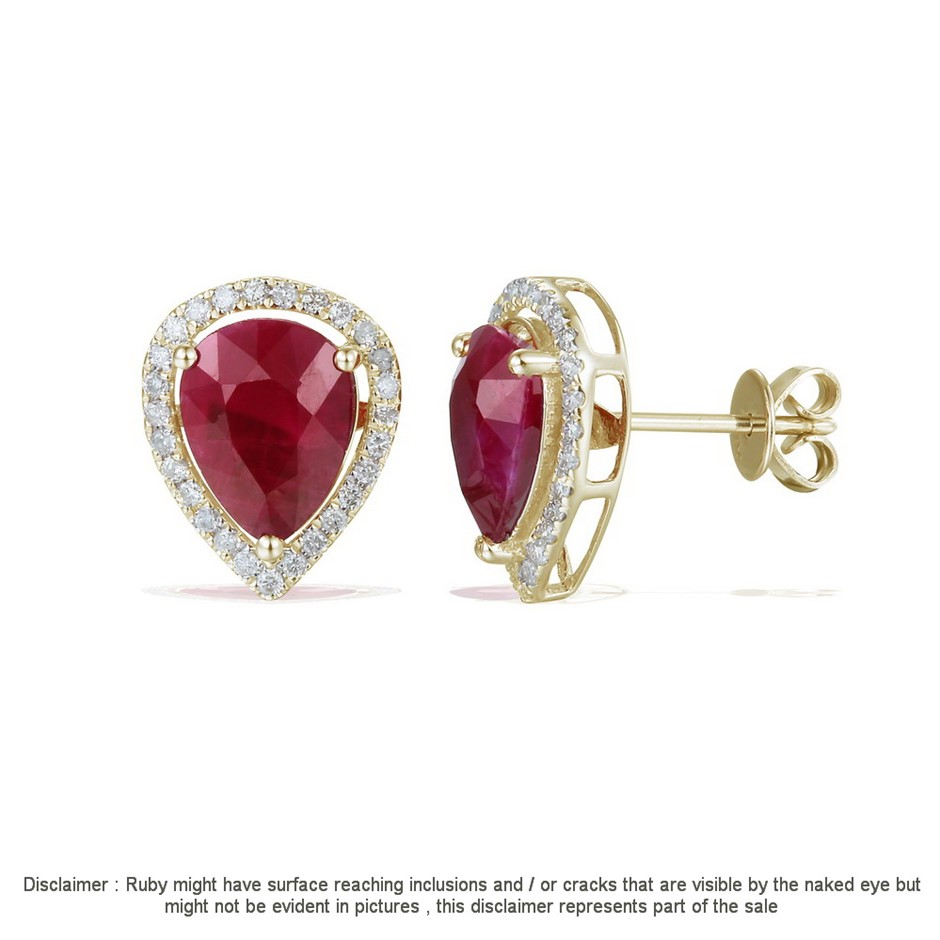 9ct Yellow Gold, 4.22ct Ruby and Diamond Earring