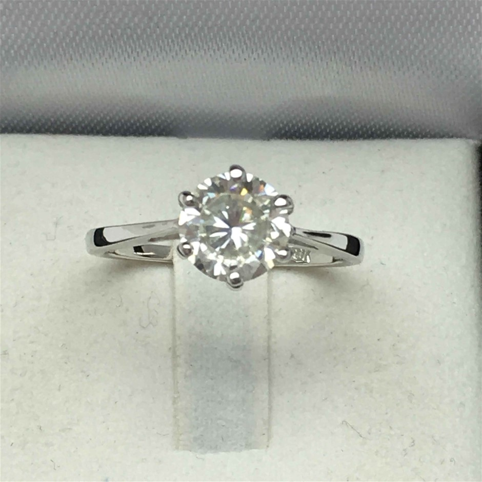 18ct White Gold, 1.38ct Moissanite Engagement Ring
