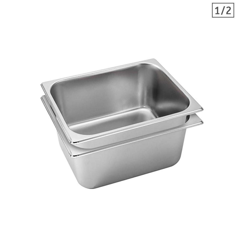 SOGA 2X Gastronorm GN Pan Full Size 1/2 GN Pan 15cm Stainless Steel Tray