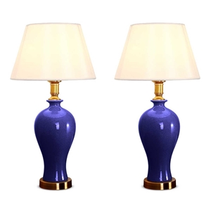 SOGA 2x Blue Ceramic Oval Table Lamp wit