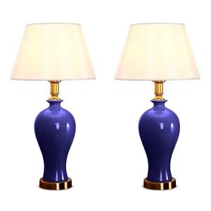 SOGA 2x Blue Ceramic Oval Table Lamp wit