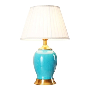 SOGA Ceramic Oval Table Lamp with Gold M