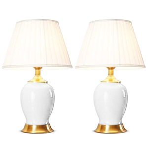 SOGA 2x Ceramic Oval Table Lamp with Gol