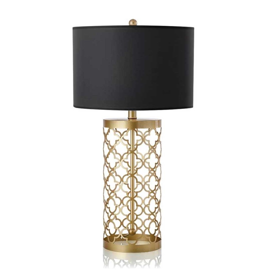 SOGA Golden Hollowed Out Base Table Lamp with Dark Shade