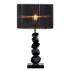 SOGA 60cm Black Table Lamp with Dark Sha