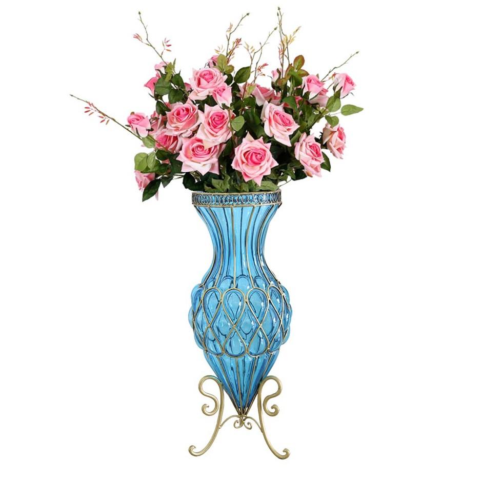 SOGA 67cm Blue Glass Floor Vase and 12pcs Pink Artificial Fake Flower Set