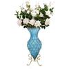 SOGA 67cm Blue Glass Floor Vase and 12pcs White Artificial Fake Flower Set