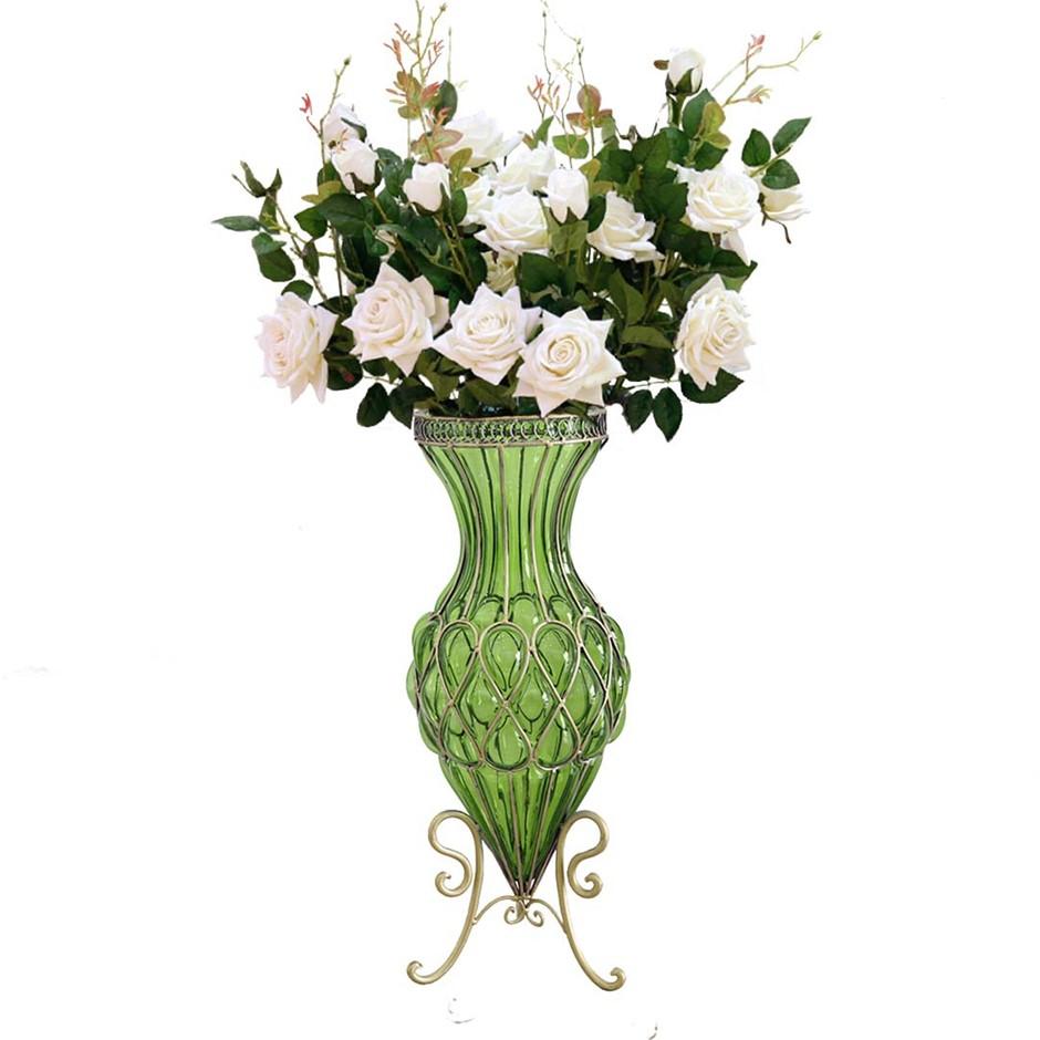 SOGA 67cm Green Glass Floor Vase and 12pcs White Artificial Fake Flower Set