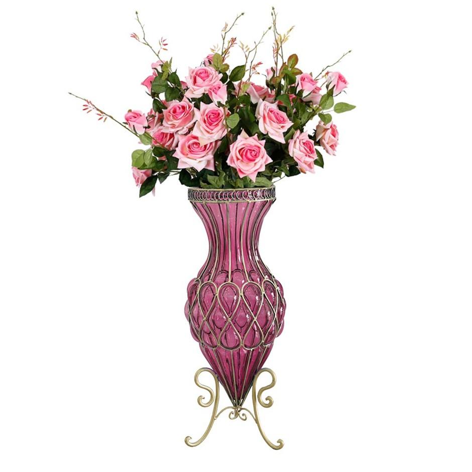 SOGA 67cm Purple Glass Floor Vase and 12pcs Pink Artificial Fake Flower Set