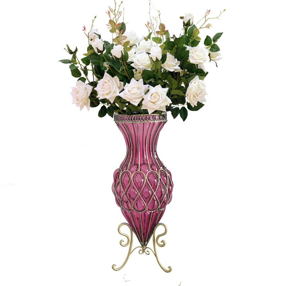 SOGA 67cm Purple Glass Floor Vase and 12pcs White Artificial Flower Set