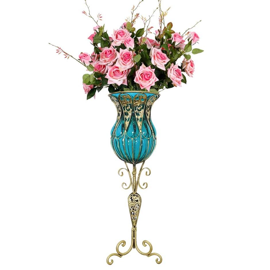 SOGA 85cm Blue Glass Floor Vase and 12pcs Pink Artificial Fake Flower Set