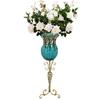 SOGA 85cm Blue Glass Floor Vase and 12pcs White Artificial Fake Flower Set