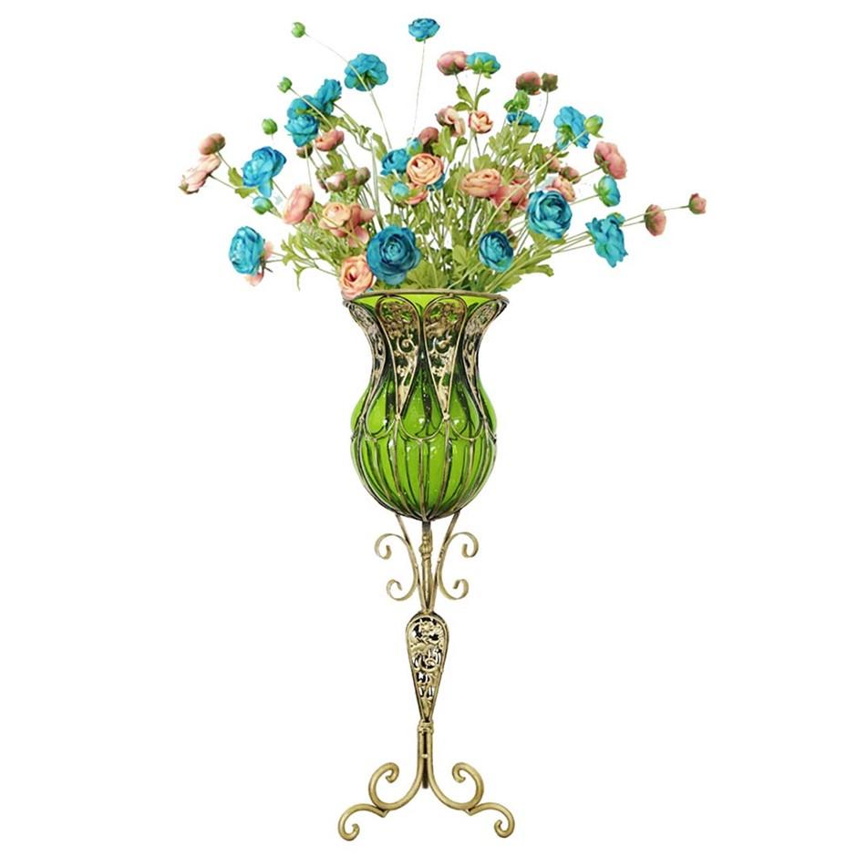 SOGA 85cm Green Glass Floor Vase and 12pcs Blue Artificial Fake Flower Set