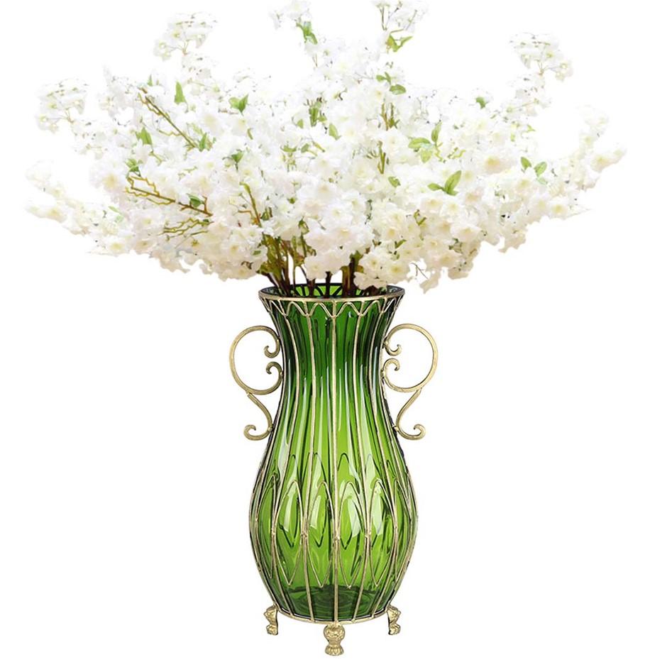 SOGA 51cm Green Glass Floor Vase and 10pcs White Artificial Fake Flower Set