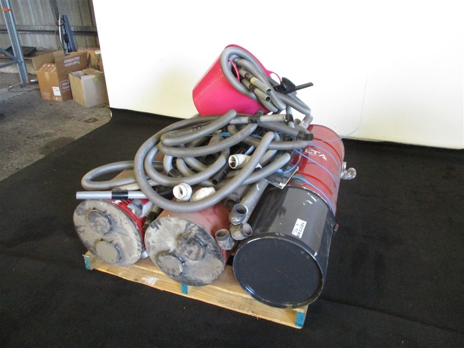 Qty 3 x Volta EA697EC Centra Vac with Qty Hoses/Accessories on Pallet