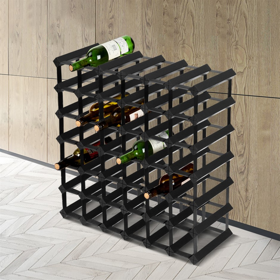 Artiss 42 Bottle Timber Wine Rack Wooden Storage Wall Racks Cellar Black
