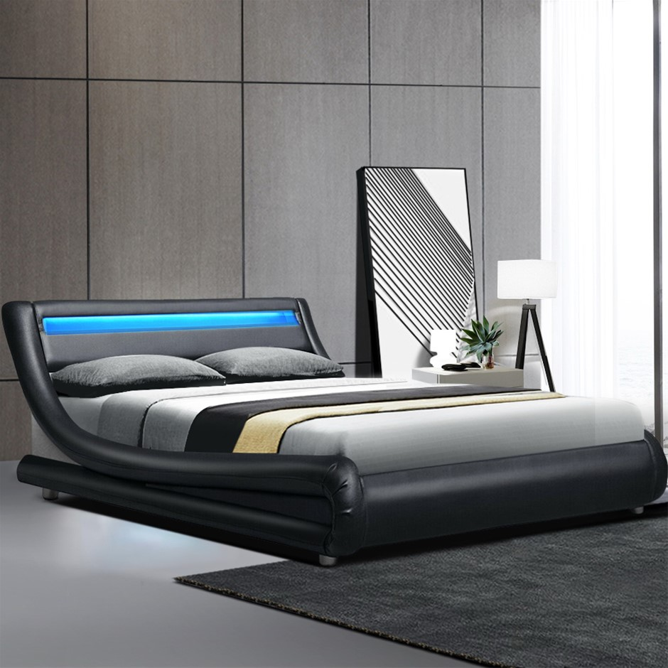 Artiss LED Bed Frame Double Size Base Mattress Platform Black Leather ALEX