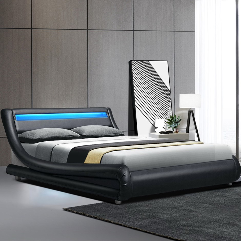 Artiss LED Bed Frame Queen Base Mattress Platform Black Leather Wooden