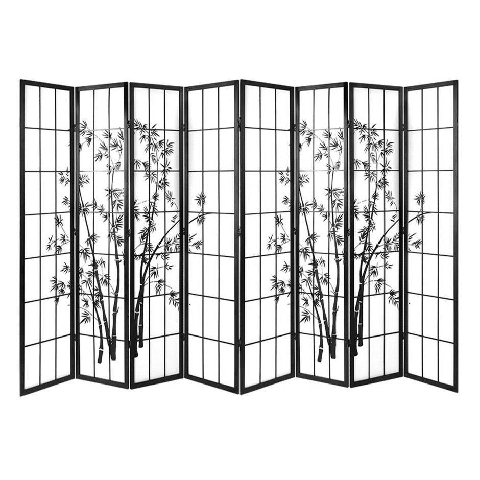 Artiss 8 Panel Room Divider Screen Dividers Pine Wood Bamboo Black White