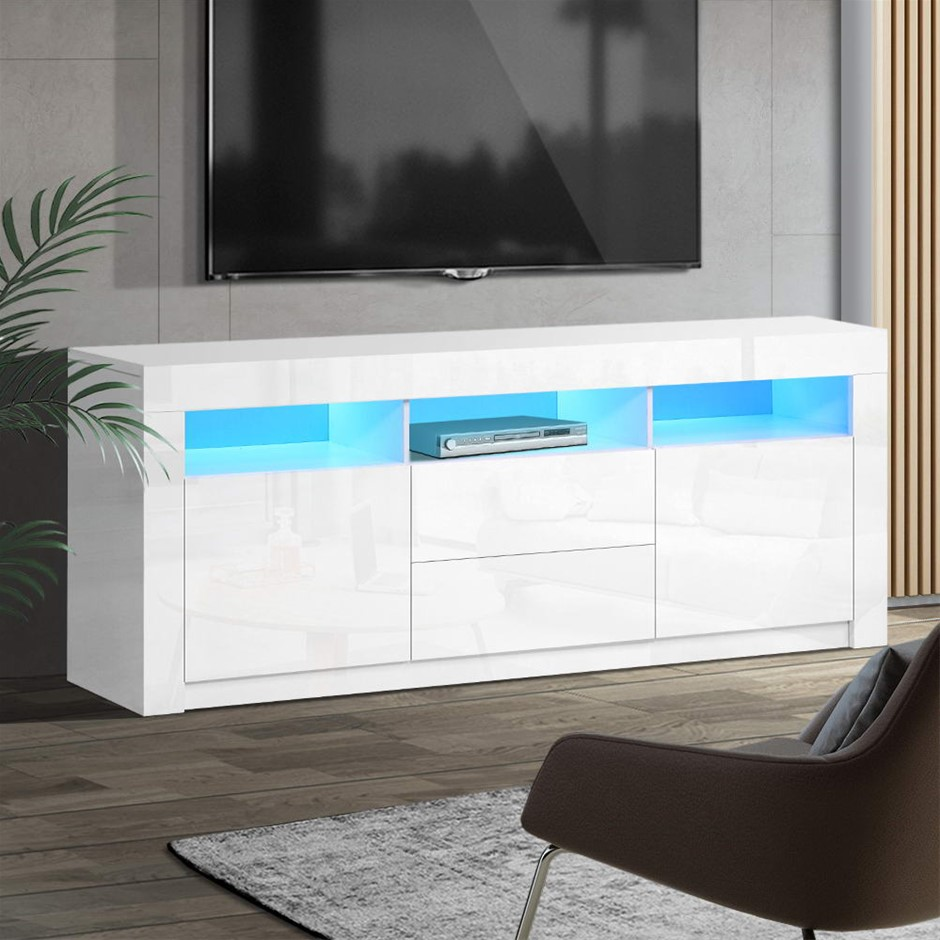 Artiss TV Cabinet Entertainment Unit Stand RGB LED Gloss 160cm White