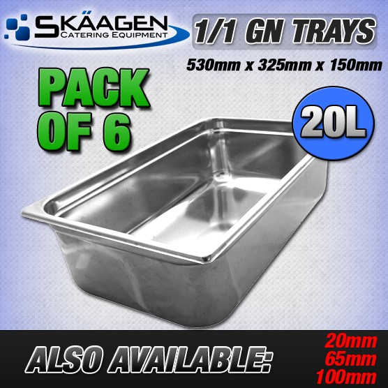 Unused 1/1 Gastronorm Trays 150mm - 6 Pack