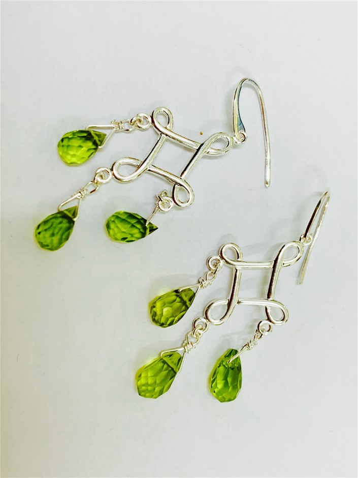 Sterling Silver beaded earrings.