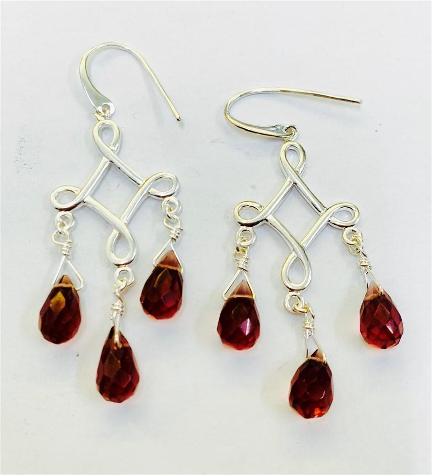 Sterling Silver bead drop earrings.