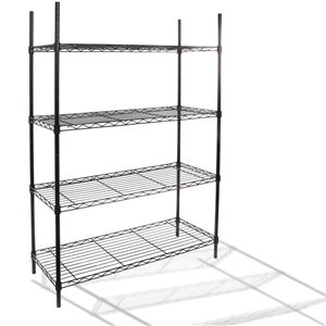 4-Tier Multi-Purpose Black Steel Shelf U