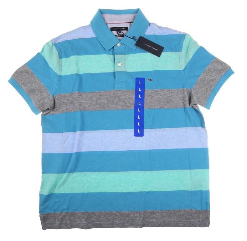 TOMMY HILFIGER Men`s Kelson Stripe Polo Shirt, 100% Cotton, Size L, Blue Ja