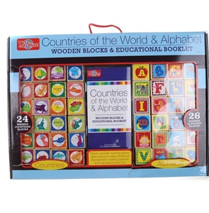 2 x Sets of 24 Wooden Block Countries of
