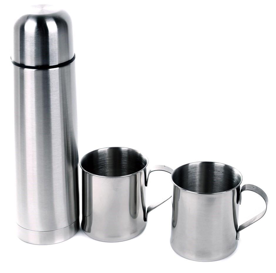 Stainless Steel 3pc Vacuum Flask & Mug Set In Nylon Zip Carry Case. Buyers