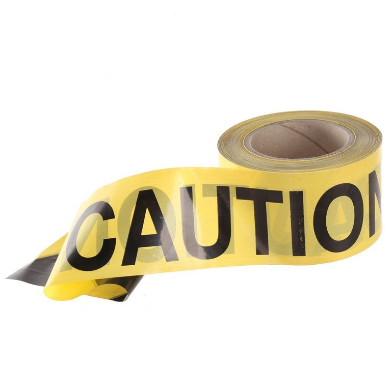 4 Rolls x Yellow CAUTION Safety Barrier Tape 75mm x 100M. Buyers Note - Dis