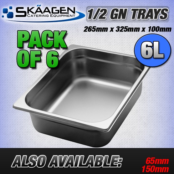 Unused 1/2 Gastronorm Trays 100mm - 6 Pack