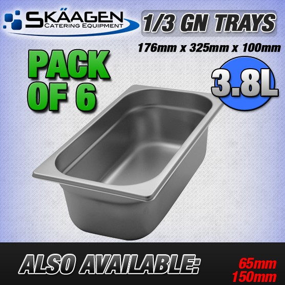 Unused 1/3 Gastronorm Trays 100mm - 6 Pack