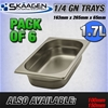 Unused 1/4 Gastronorm Trays 65mm - 6 Pack