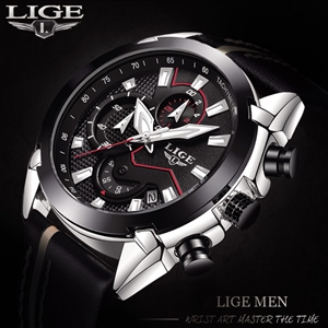 LIGE Men Casual Leather Military & Sport
