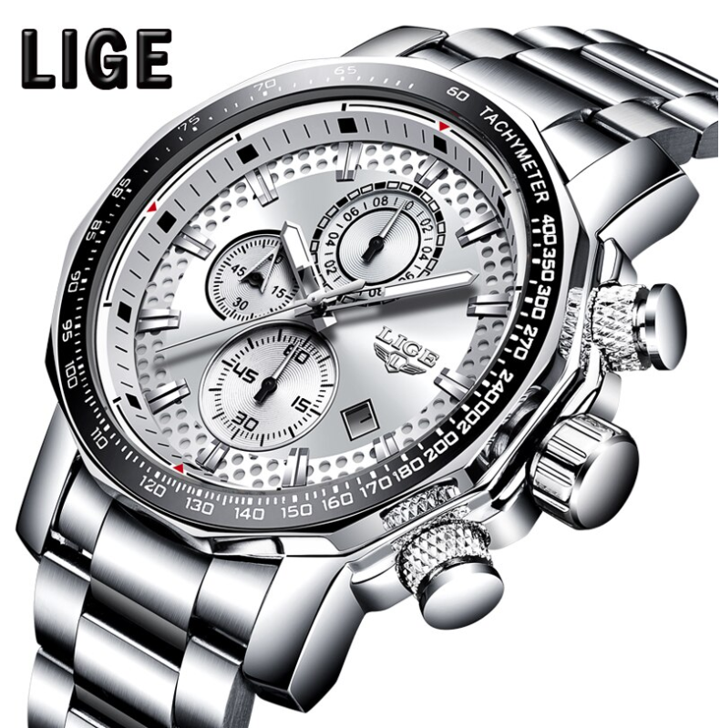 LIGE Men Business & Luxury Quartz Chronograph SS Watch Lige 9902 White