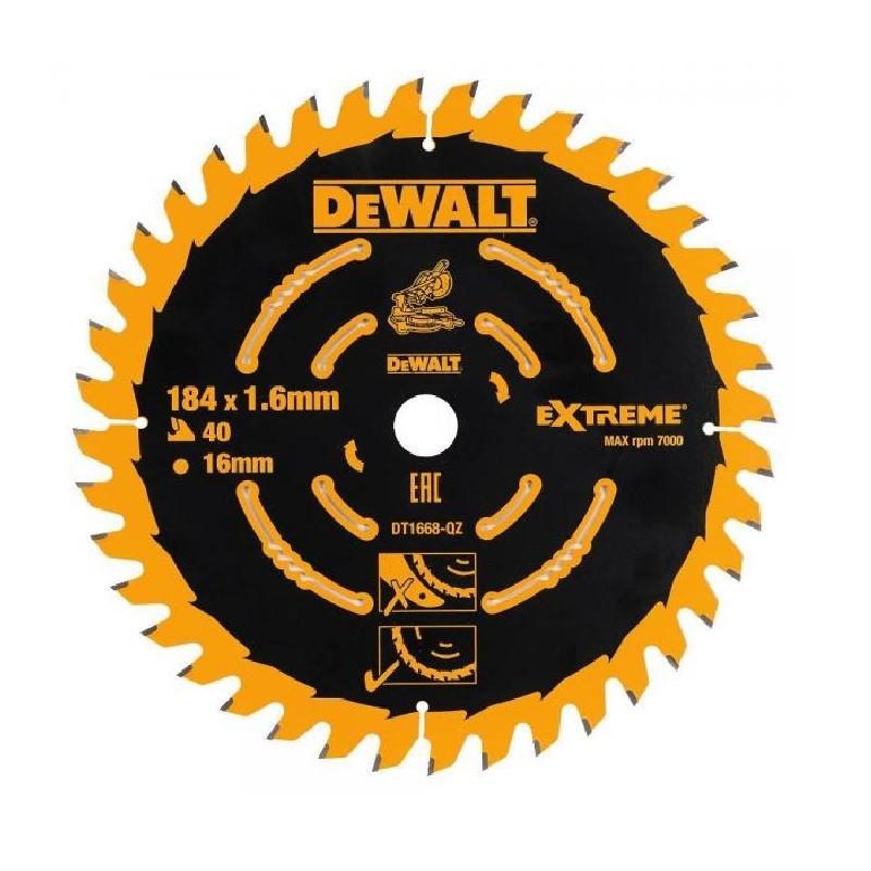 DeWALT Timber Saw Blade 184mm x 16mm x 40 Teeth. (SN:DT1668-QZ) (268606-189