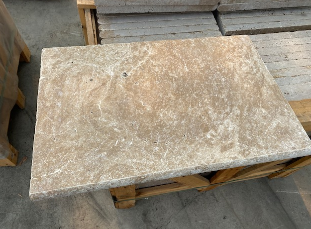 1xCrate of Noce Travertine Pavers unfilled, tumbled, bullnosed 610x406x30mm