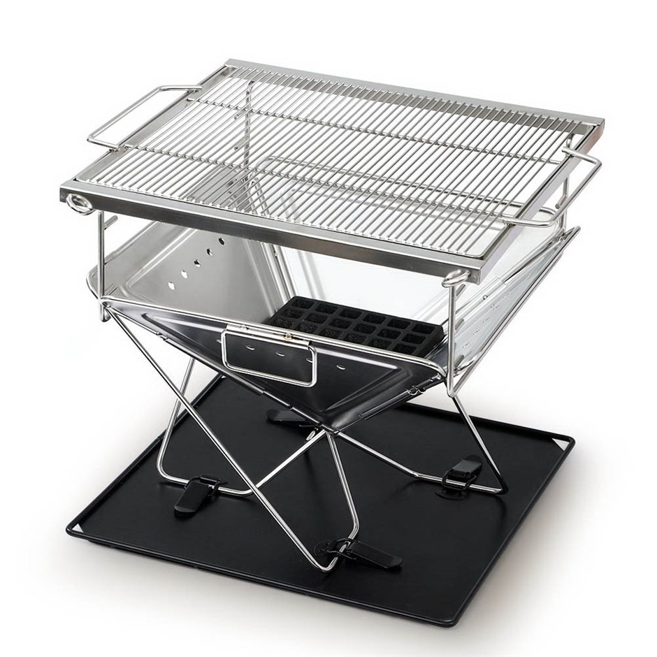 Grillz Fire Pit BBQ Grill Smoker Camping Portable Stainless Steel Stove