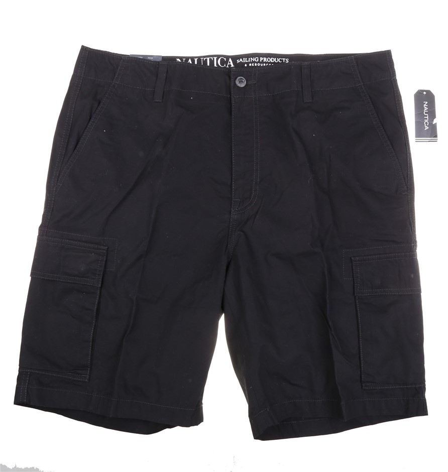 NAUTICA Men`s Modern Fit Cargo Shorts, Size 36, 100% Cotton, Black. Buyers