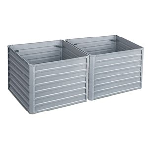 2x Galvanised Steel Raised Garden Bed Pl