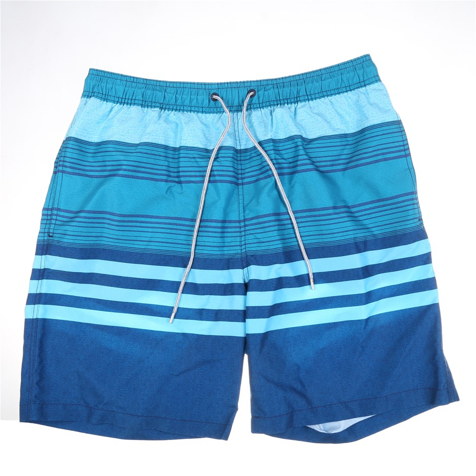 SIGNATURE Men`s Swim Shorts w/ Comfort Waistband, Size L, 100% Polyester, T