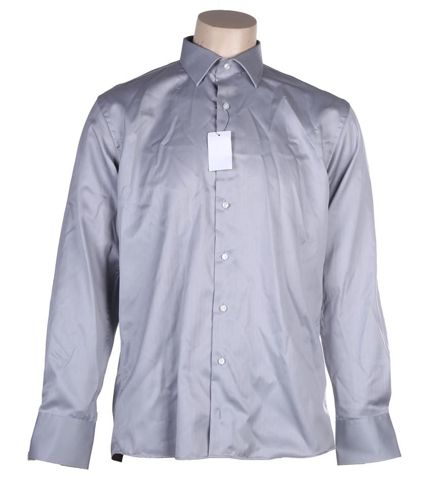 PIERRE CARDIN Men`s Euro Cut Dress Shirt, Size 41x91, Cotton, Grey. Buyers