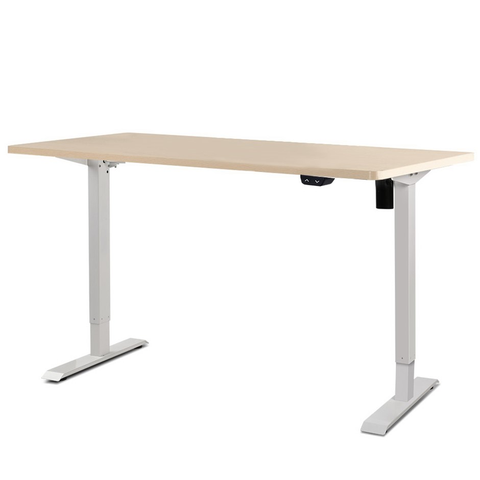 Artiss Motorised Electric Height Adjustable Standing Desk White White Oak