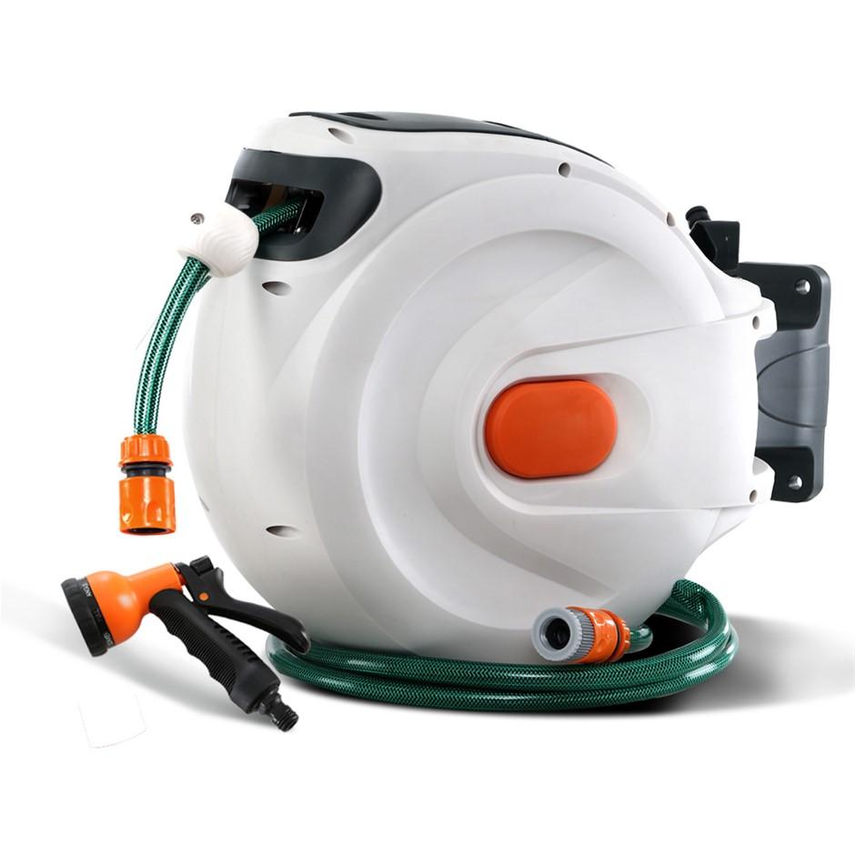 Greenfingers Retractable Hose Reel 20M Garden Water Spray Gun Auto Rewind